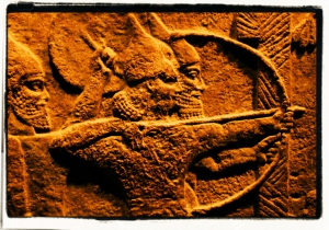 Tablet with an image of Aryan warriors. Credit: Justin Gaurav Murgai/Flickr CC BY-NC-ND 2.0